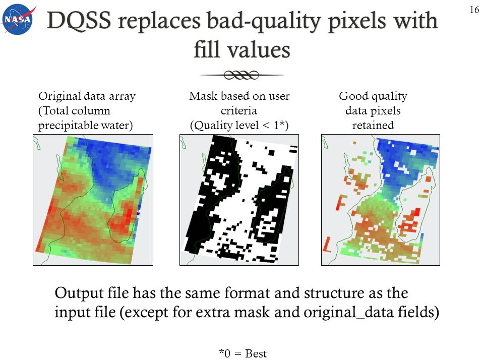 DQSS replaces bad-quality pixels with fill values Mask based on user criteria (Quality level < 1*) Good quality data pixels retained Output file has the same format and structure as the input file (except for extra mask and original_data fields) Original data array (Total column precipitable water) 16 *0 = Best