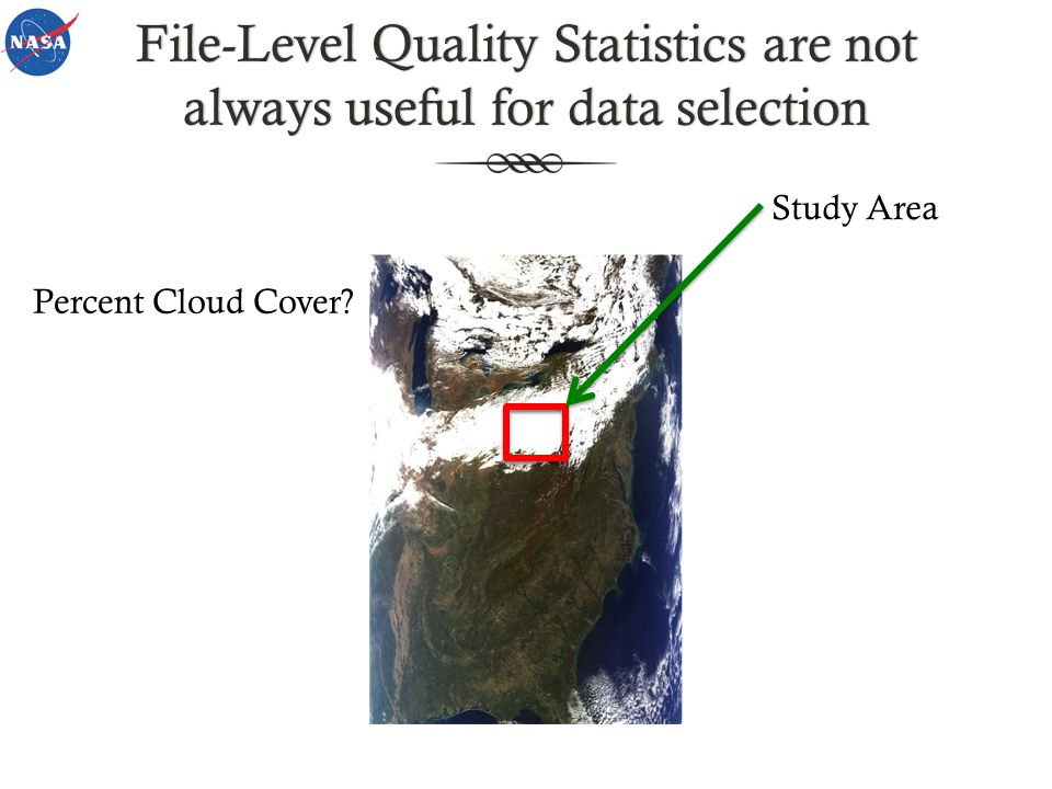 File-Level Quality Statistics are not always useful for data selection Study Area Percent Cloud Cover