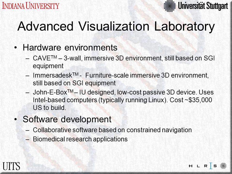 Advanced Visualization Laboratory Hardware environments –CAVE TM – 3-wall, immersive 3D environment, still based on SGI equipment –Immersadesk TM - Fu