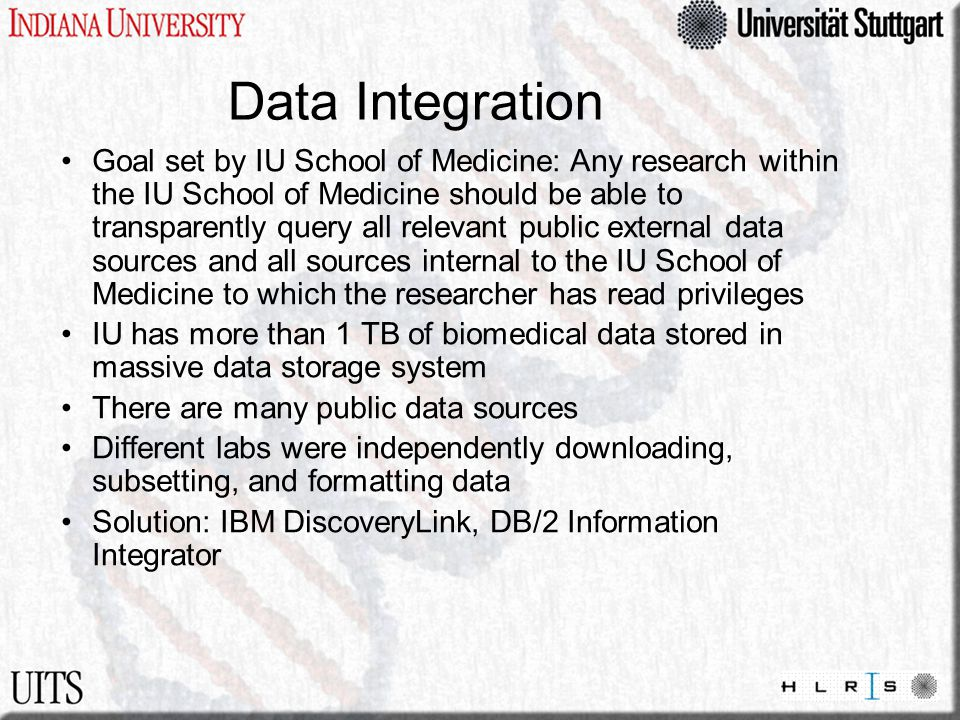 Data Integration Goal set by IU School of Medicine: Any research within the IU School of Medicine should be able to transparently query all relevant p