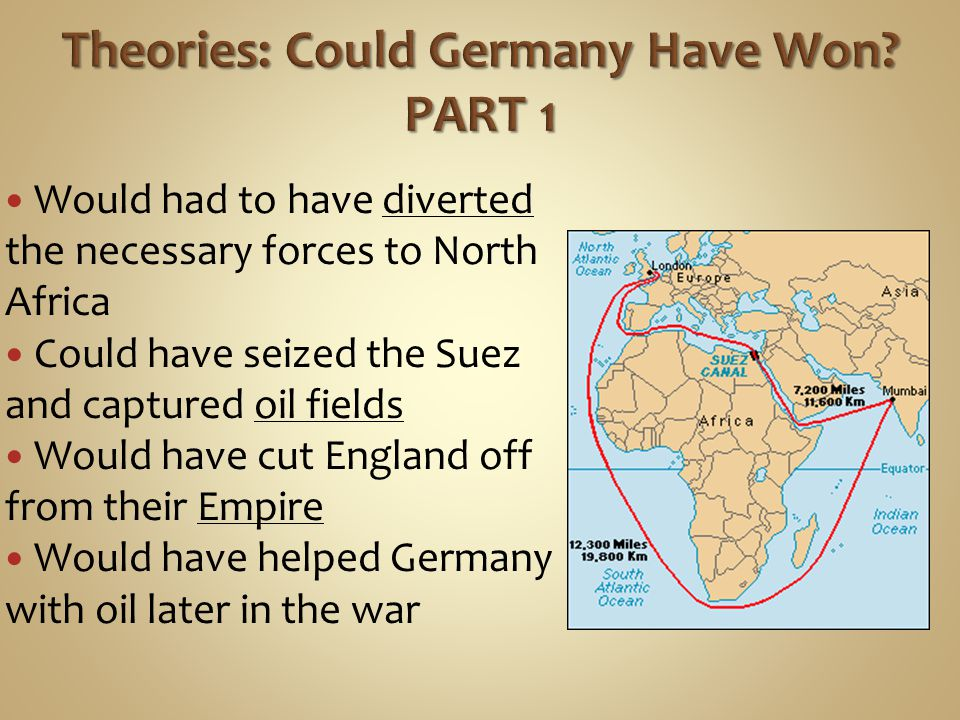 Would had to have diverted the necessary forces to North Africa Could have seized the Suez and captured oil fields Would have cut England off from their Empire Would have helped Germany with oil later in the war