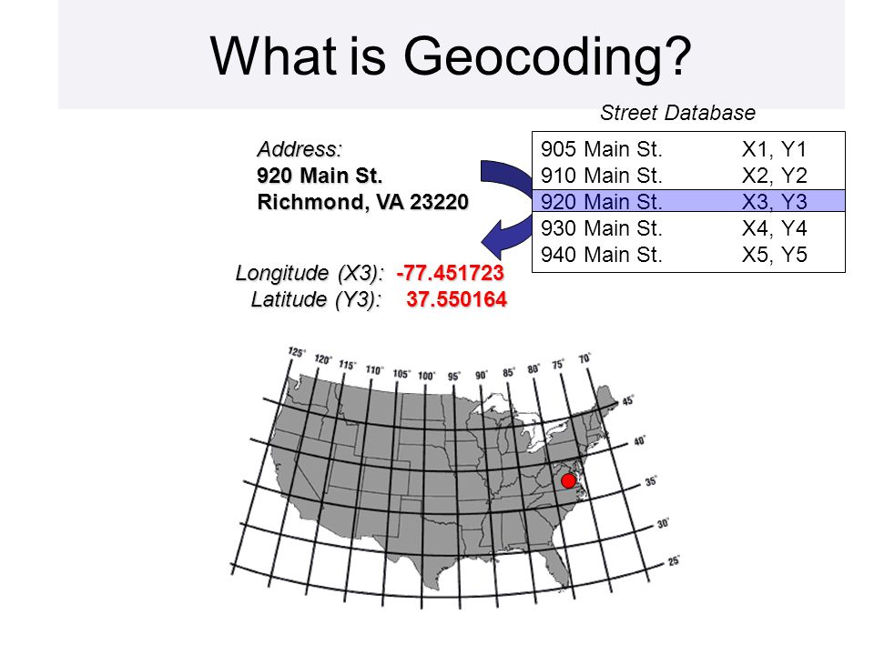 What is Geocoding Address: 920 Main St.