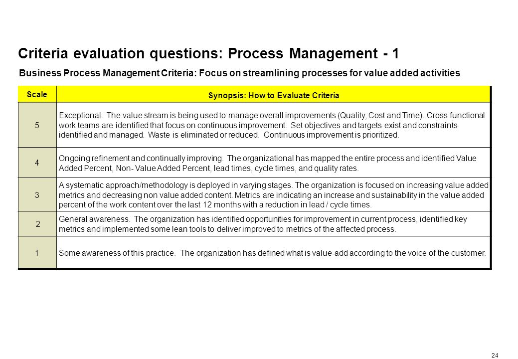 24 Criteria evaluation questions: Process Management - 1 Business Process Management Criteria: Focus on streamlining processes for value added activities Scale Synopsis: How to Evaluate Criteria 5 Exceptional.