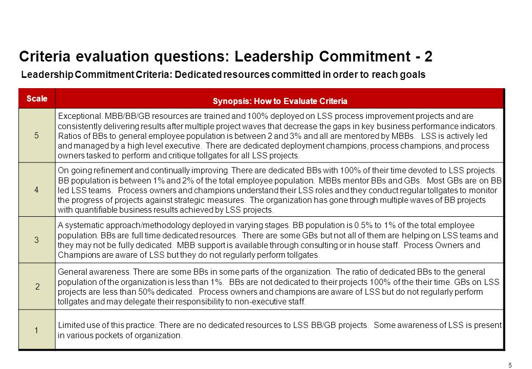 5 Criteria evaluation questions: Leadership Commitment - 2 Scale Synopsis: How to Evaluate Criteria 5 Exceptional.