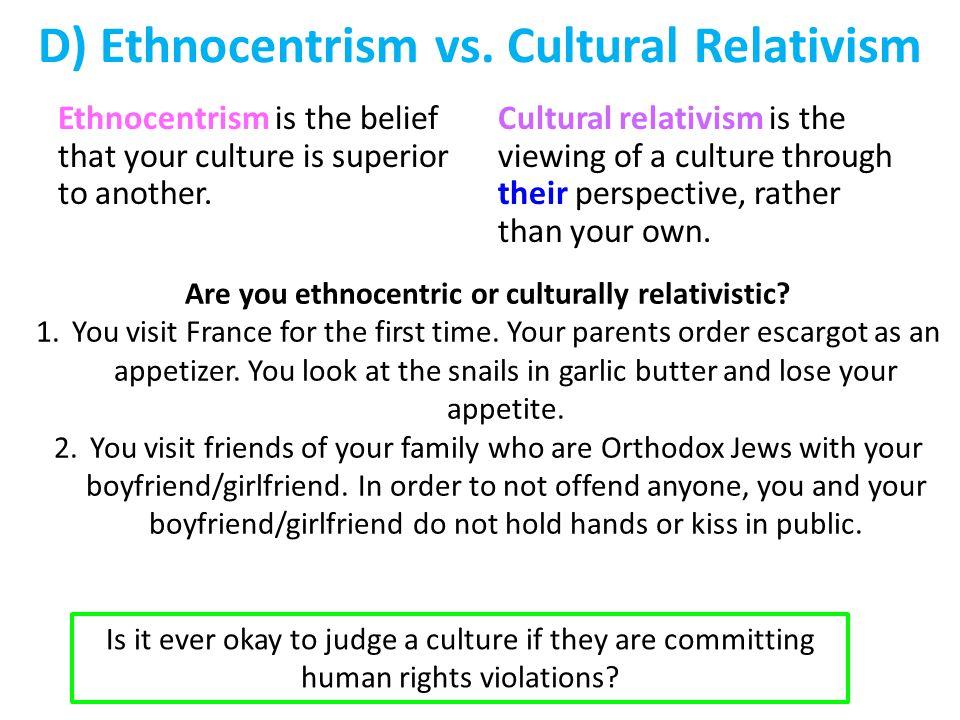 D) Ethnocentrism vs.
