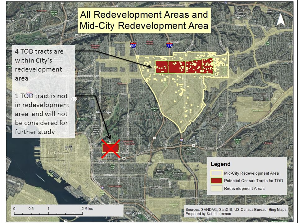 4 TOD tracts are within City's redevelopment area 1 TOD tract is not in redevelopment area and will not be considered for further study