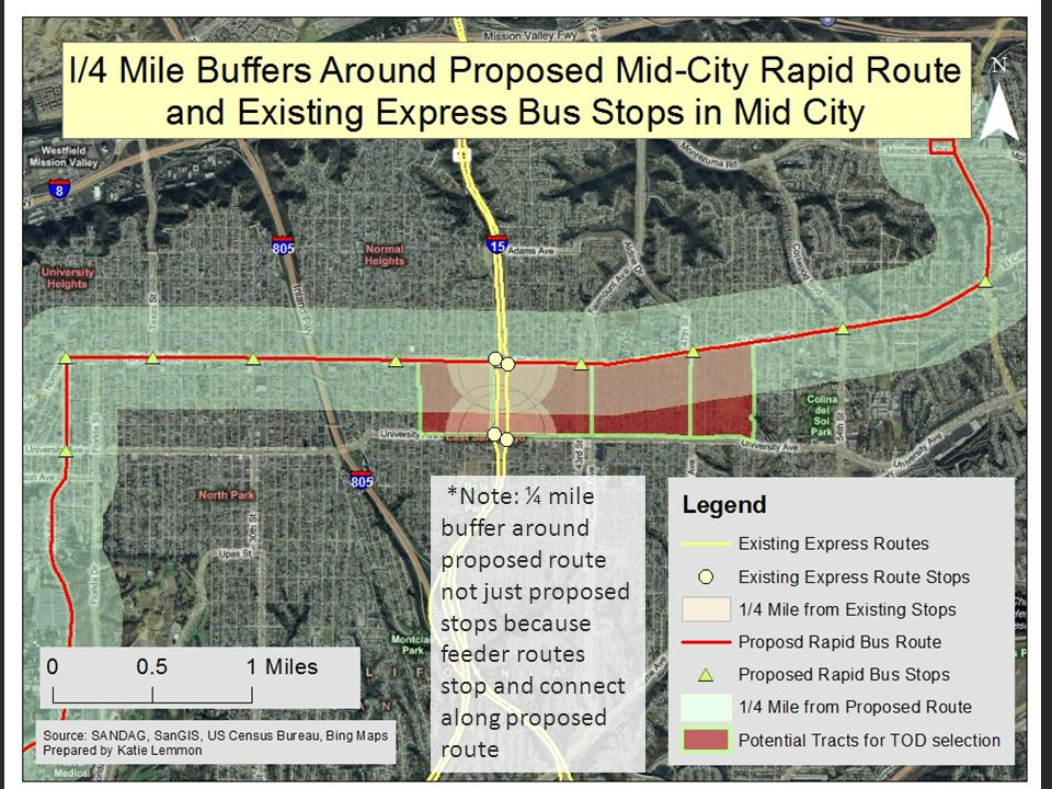 *Note: ¼ mile buffer around proposed route not just proposed stops because feeder routes stop and connect along proposed route