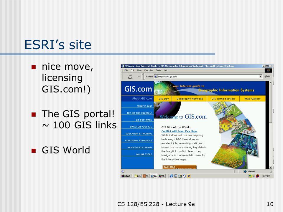 CS 128/ES 228 - Lecture 9a10 ESRI's site nice move, licensing GIS.com!) The GIS portal.