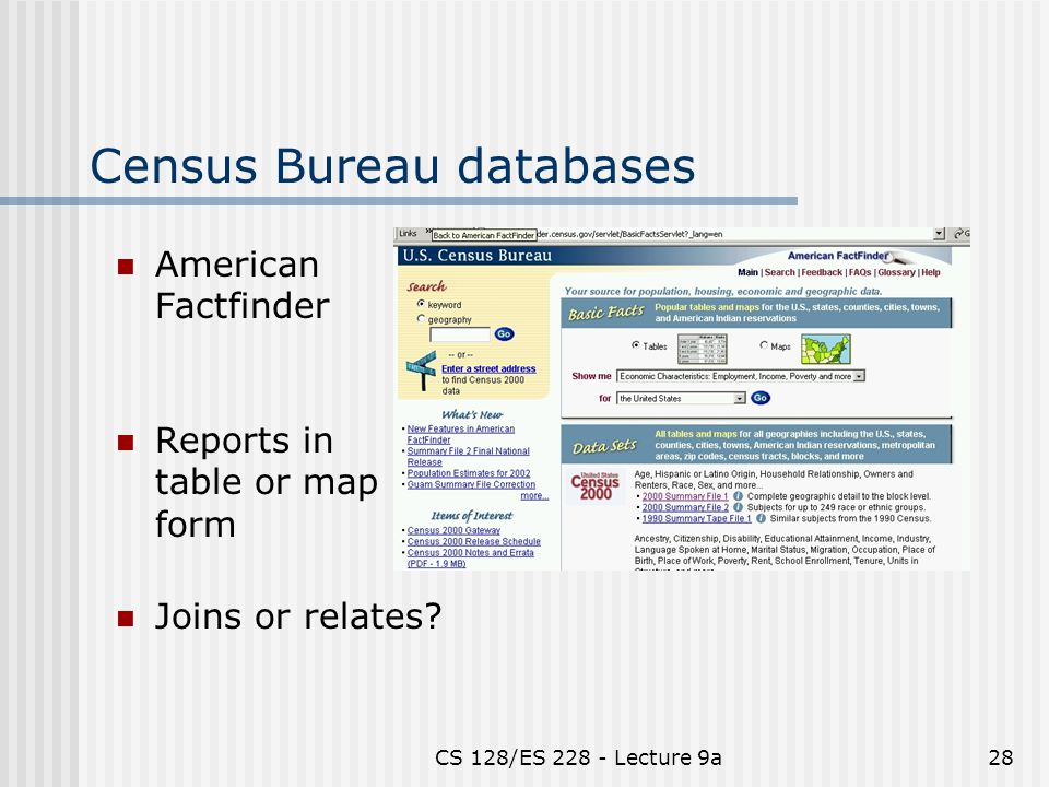 CS 128/ES 228 - Lecture 9a28 Census Bureau databases American Factfinder Reports in table or map form Joins or relates?