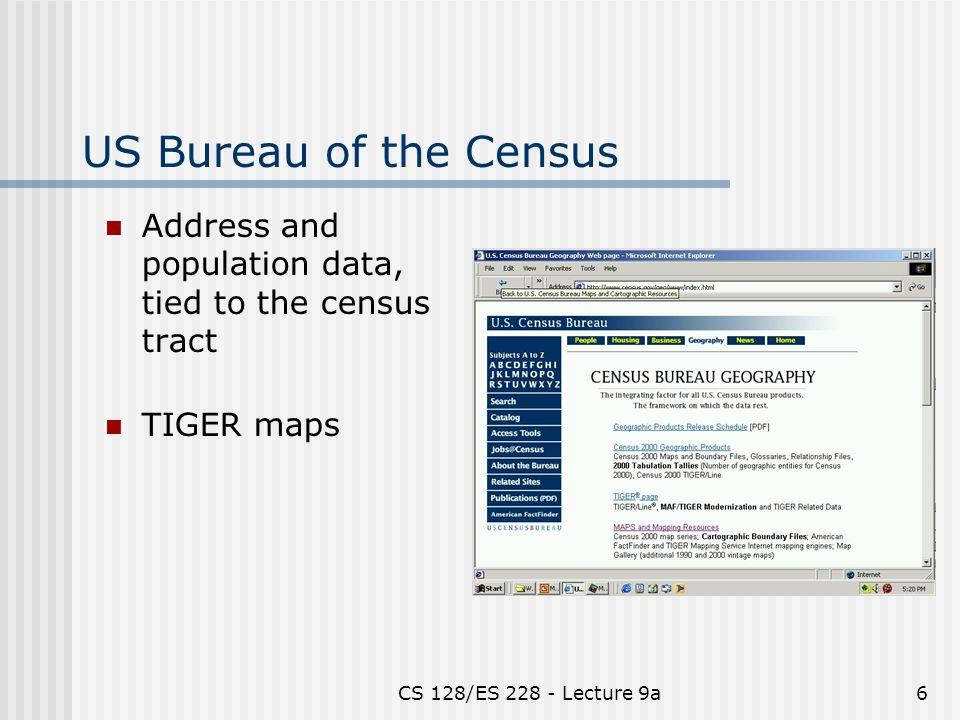 CS 128/ES 228 - Lecture 9a6 US Bureau of the Census Address and population data, tied to the census tract TIGER maps