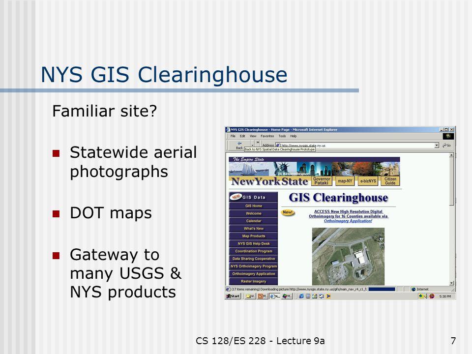 CS 128/ES 228 - Lecture 9a7 NYS GIS Clearinghouse Familiar site.