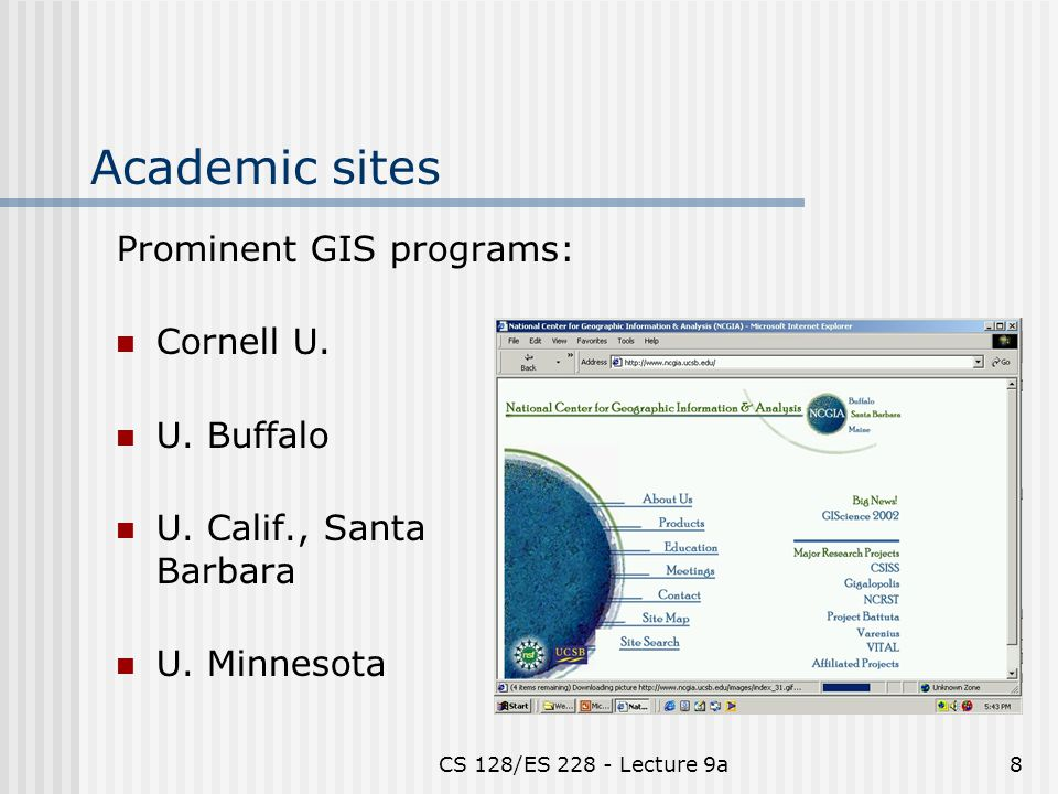 CS 128/ES 228 - Lecture 9a8 Academic sites Prominent GIS programs: Cornell U.