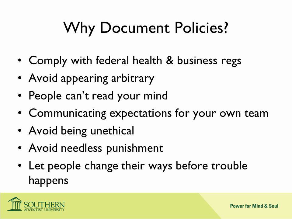 Why Document Policies.