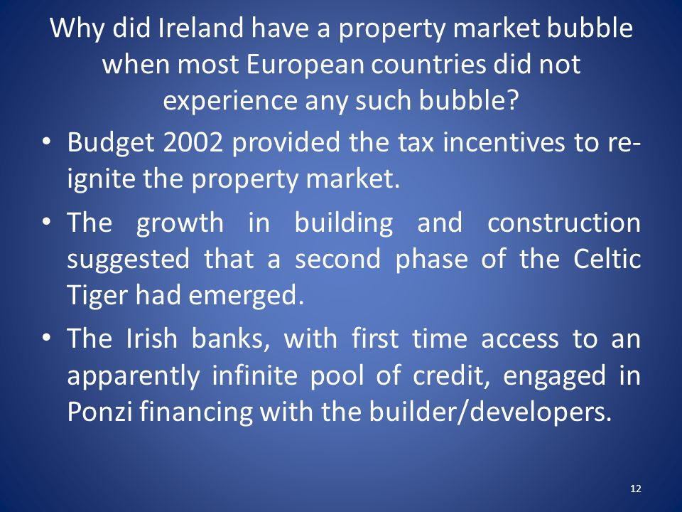 Why did Ireland have a property market bubble when most European countries did not experience any such bubble.