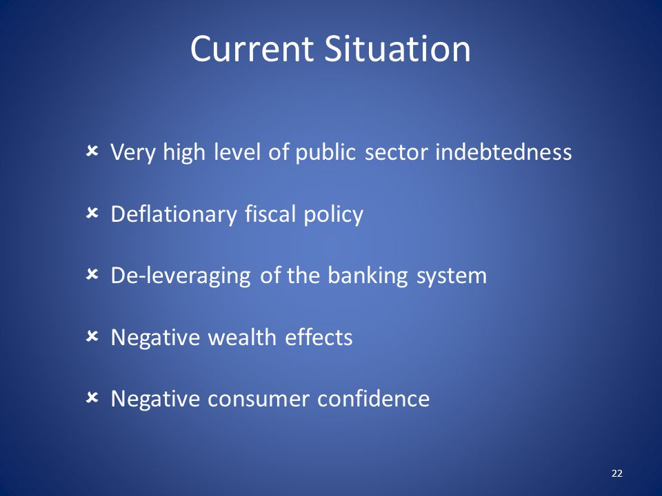  Very high level of public sector indebtedness  Deflationary fiscal policy  De-leveraging of the banking system  Negative wealth effects  Negative consumer confidence 22 Current Situation
