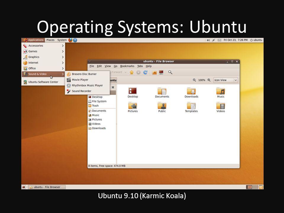 Operating Systems: Ubuntu Ubuntu 9.10 (Karmic Koala)