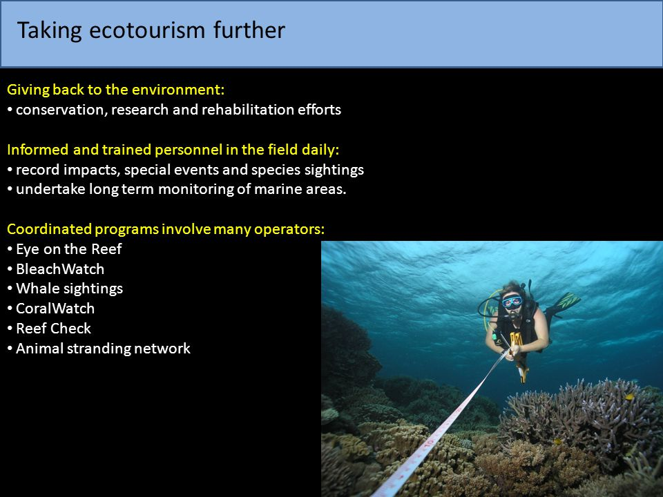 Taking ecotourism further Giving back to the environment: conservation, research and rehabilitation efforts Informed and trained personnel in the fiel