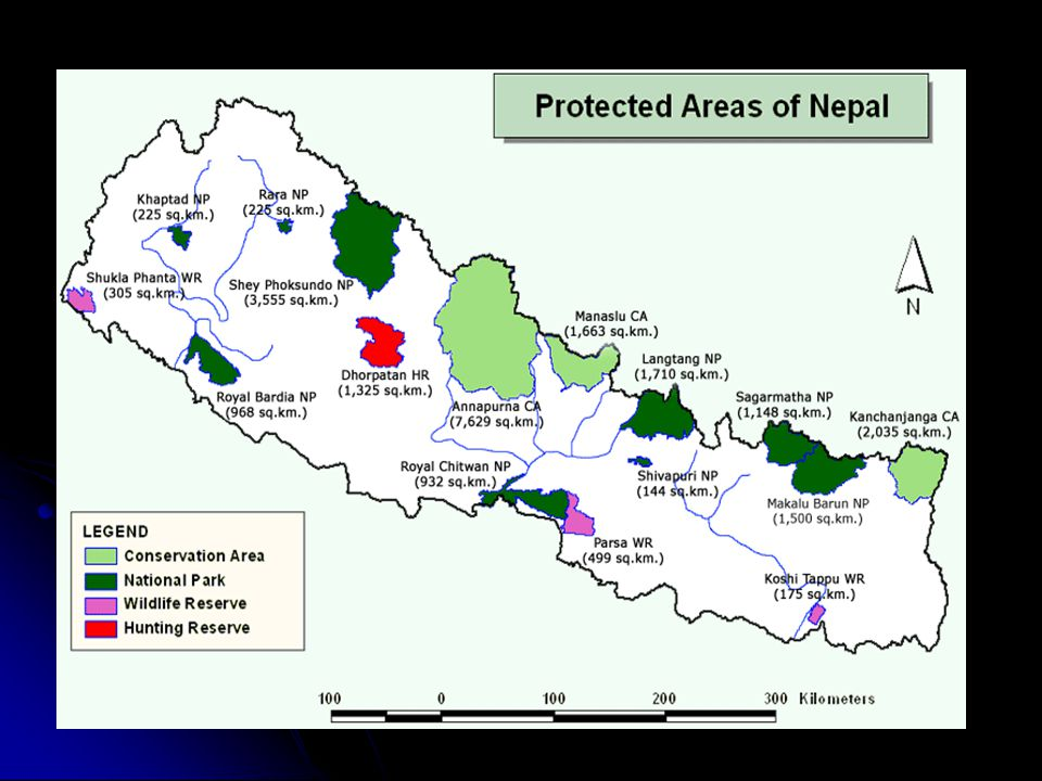 Contd…. Total Area of Nepal–1,47,181 sq.km.  Wildlife area covers 34,185.62 sq.km.