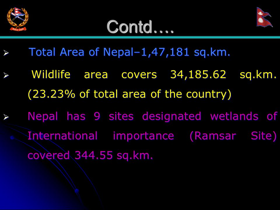 Contd….  Total Area of Nepal–1,47,181 sq.km.  Wildlife area covers 34,185.62 sq.km.