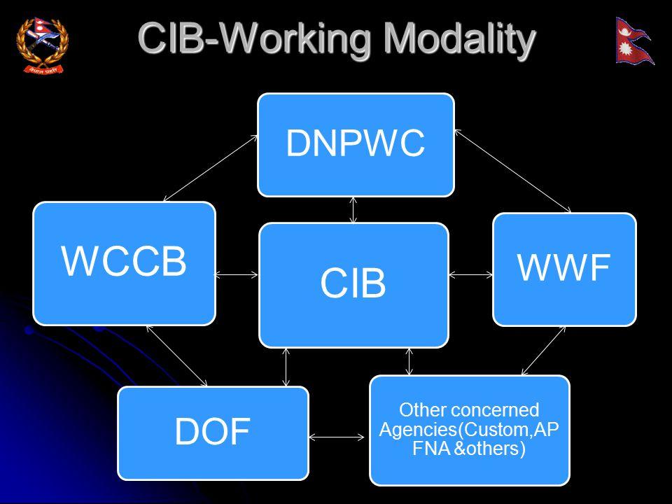 CIB-Working Modality WCCB WWF Other concerned Agencies(Custom,AP FNA &others) DNPWC CIB DOF