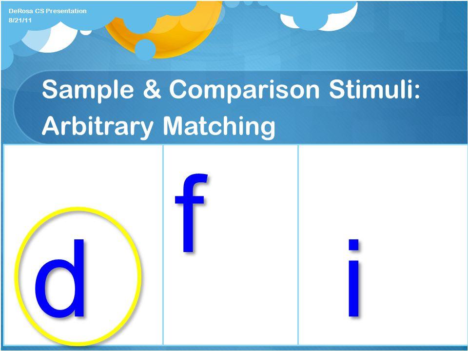 Sample & Comparison Stimuli: Arbitrary Matching DeRosa CS Presentation f 8/21/11 di
