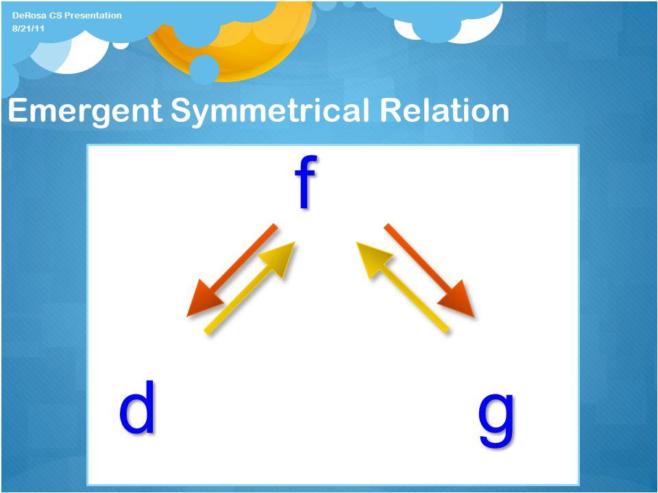 Emergent Symmetrical Relation f dg DeRosa CS Presentation 8/21/11