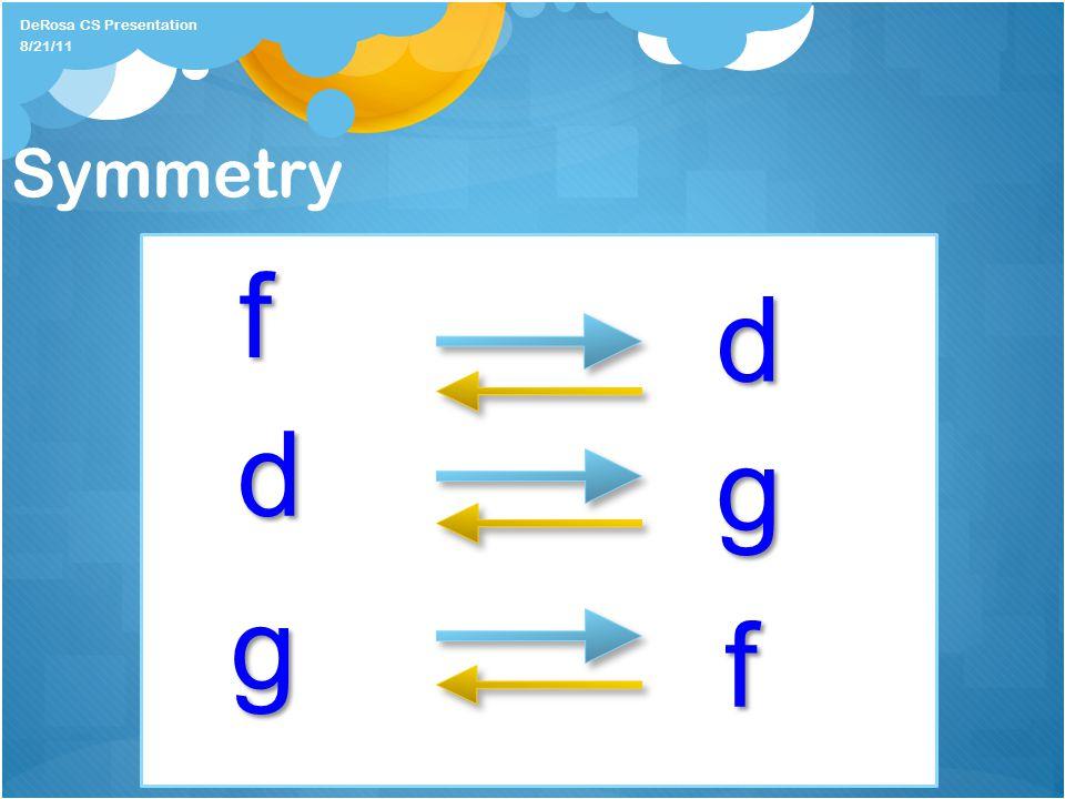 Symmetry DeRosa CS Presentation f d g g d f 8/21/11