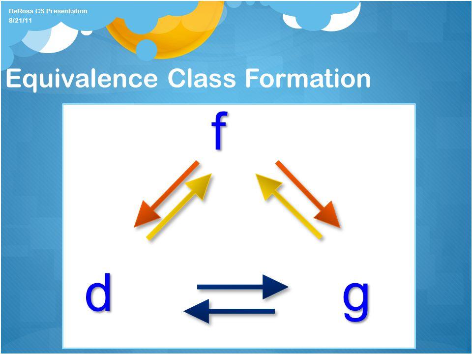 Equivalence Class Formation f dg DeRosa CS Presentation 8/21/11
