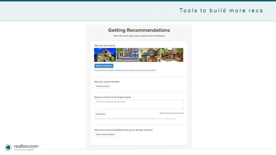 Tools to build more recs