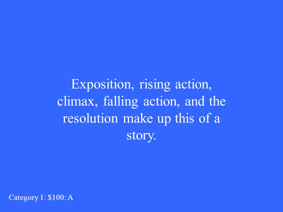 Exposition, rising action, climax, falling action, and the resolution make up this of a story.