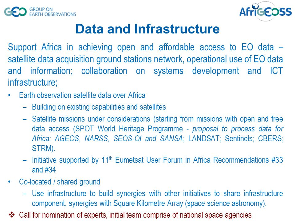 Support Africa in achieving open and affordable access to EO data – satellite data acquisition ground stations network, operational use of EO data and