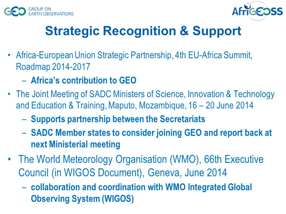 Strategic Recognition & Support Africa-European Union Strategic Partnership, 4th EU-Africa Summit, Roadmap 2014-2017 – Africa's contribution to GEO Th