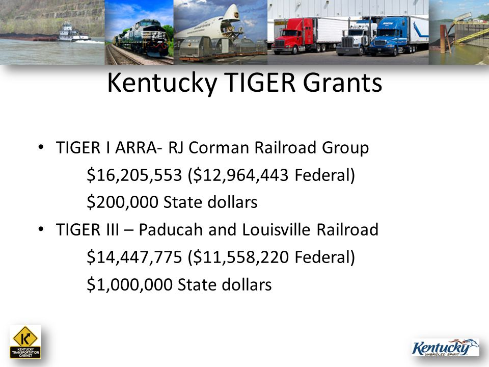 TIGER I ARRA- RJ Corman Railroad Group $16,205,553 ($12,964,443 Federal) $200,000 State dollars TIGER III – Paducah and Louisville Railroad $14,447,775 ($11,558,220 Federal) $1,000,000 State dollars Kentucky TIGER Grants
