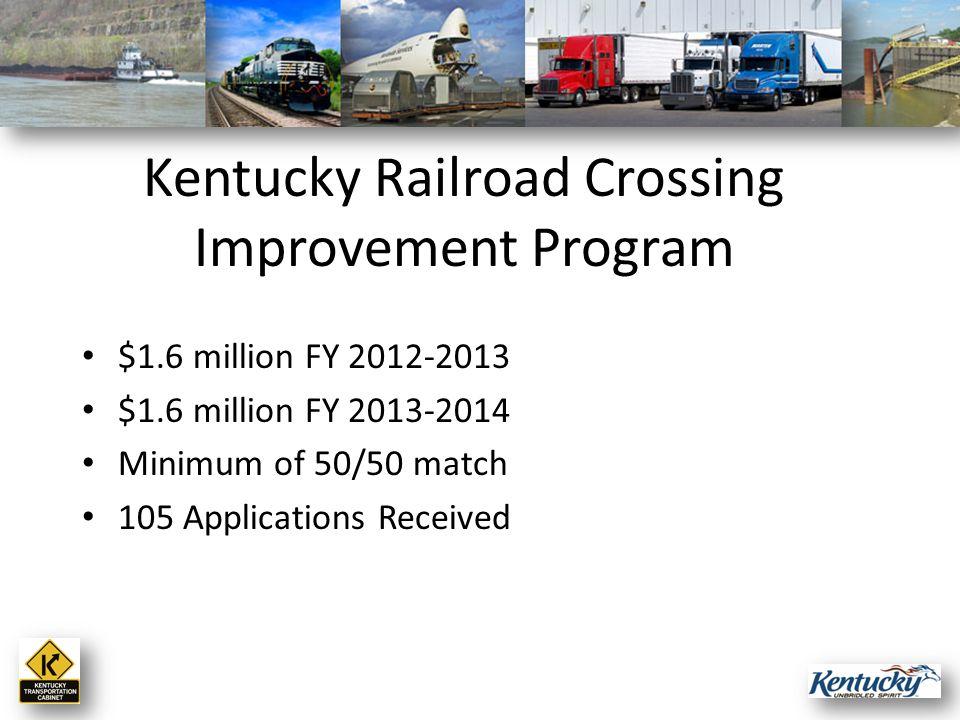 $1.6 million FY 2012-2013 $1.6 million FY 2013-2014 Minimum of 50/50 match 105 Applications Received Kentucky Railroad Crossing Improvement Program