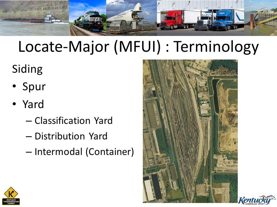 Locate-Major (MFUI) : Terminology Siding Spur Yard – Classification Yard – Distribution Yard – Intermodal (Container)