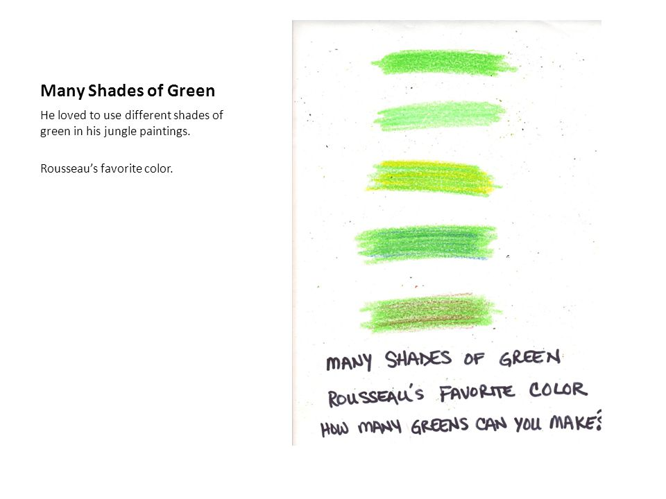 Many Shades of Green He loved to use different shades of green in his jungle paintings.