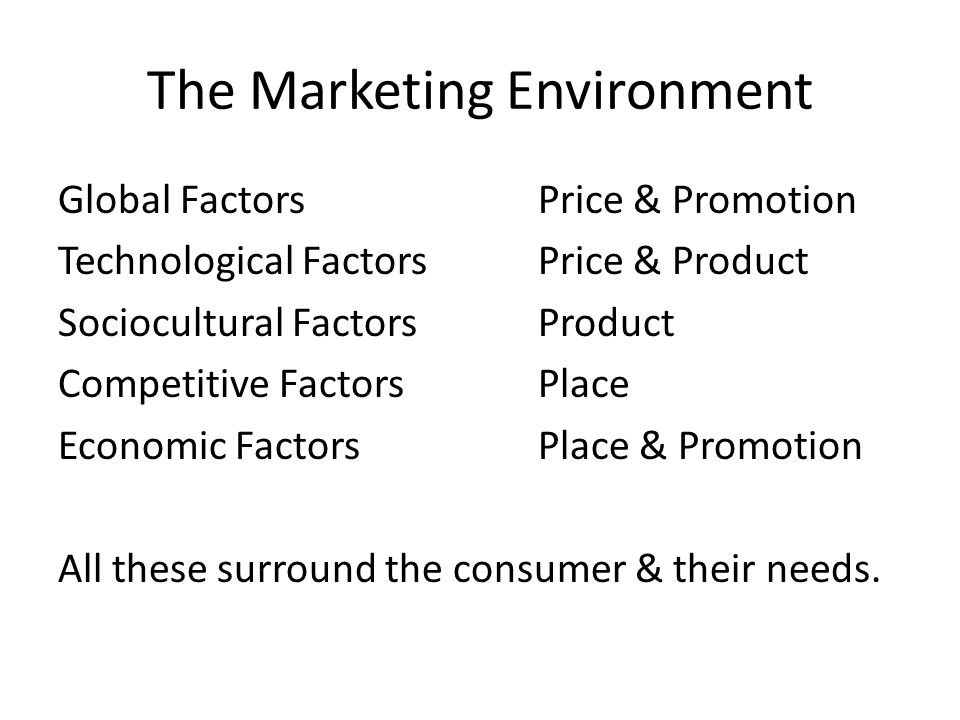 The Marketing Environment Global FactorsPrice & Promotion Technological FactorsPrice & Product Sociocultural FactorsProduct Competitive FactorsPlace Economic FactorsPlace & Promotion All these surround the consumer & their needs.