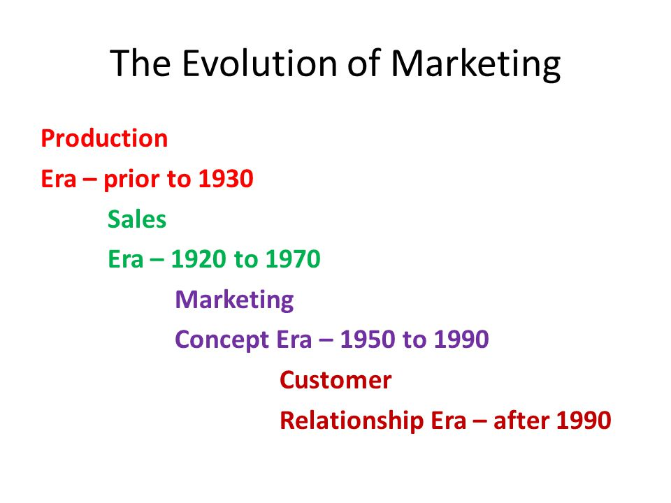 The Evolution of Marketing Production Era – prior to 1930 Sales Era – 1920 to 1970 Marketing Concept Era – 1950 to 1990 Customer Relationship Era – after 1990
