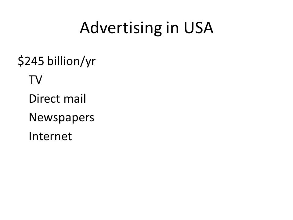Advertising in USA $245 billion/yr TV Direct mail Newspapers Internet