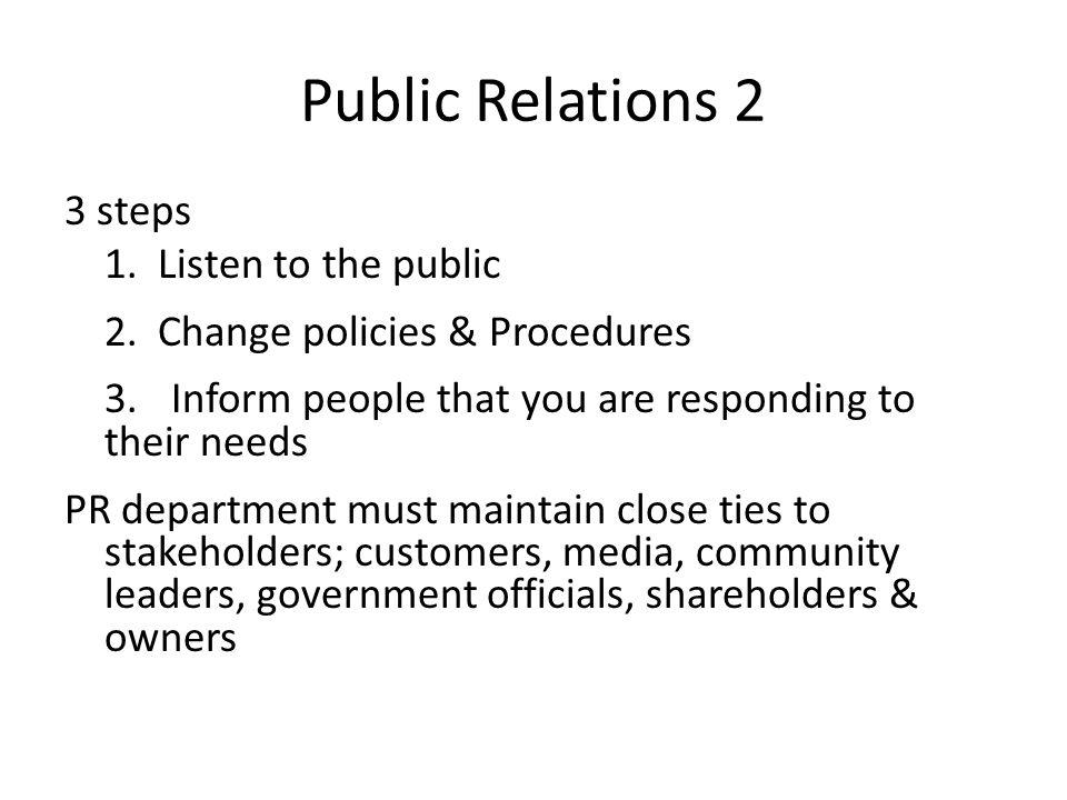 Public Relations 2 3 steps 1. Listen to the public 2.
