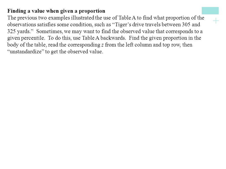 + Finding a value when given a proportion The previous two examples illustrated the use of Table A to find what proportion of the observations satisfi