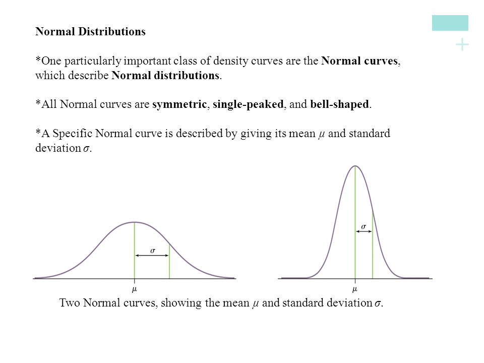 + Normal Distributions*One particularly important class of density curves are the Normal curves, which describe Normal distributions. *All Normal curv