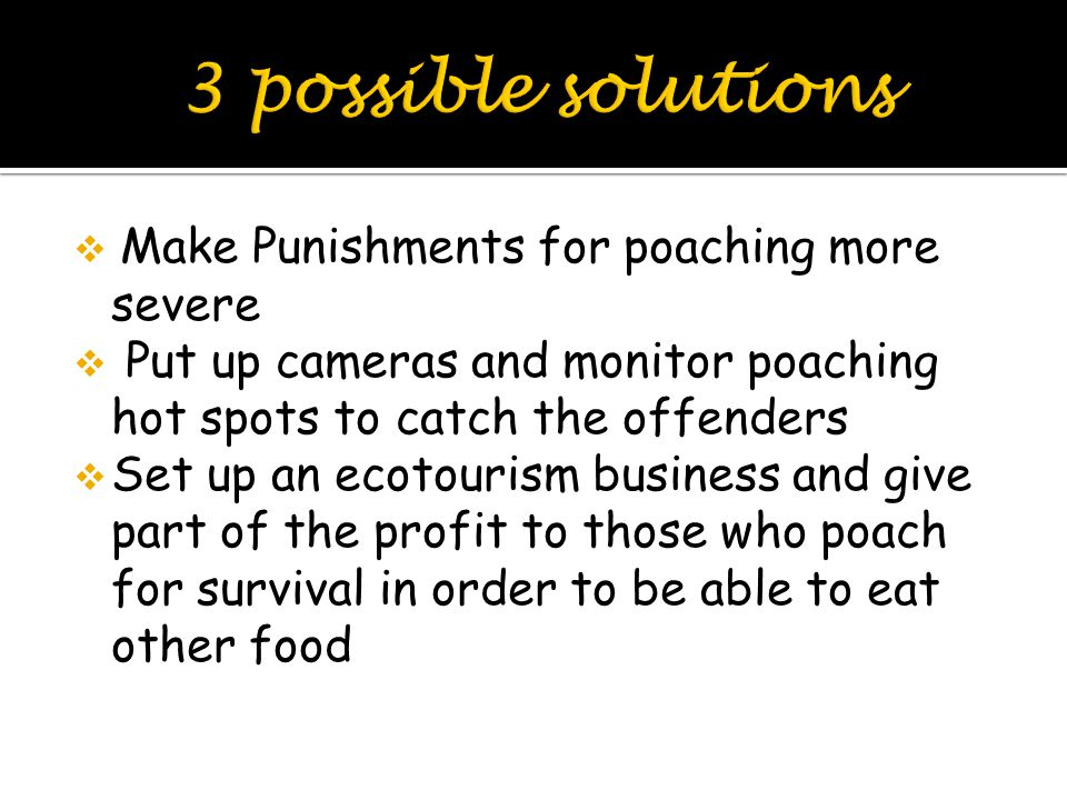  Make Punishments for poaching more severe  Put up cameras and monitor poaching hot spots to catch the offenders  Set up an ecotourism business and give part of the profit to those who poach for survival in order to be able to eat other food