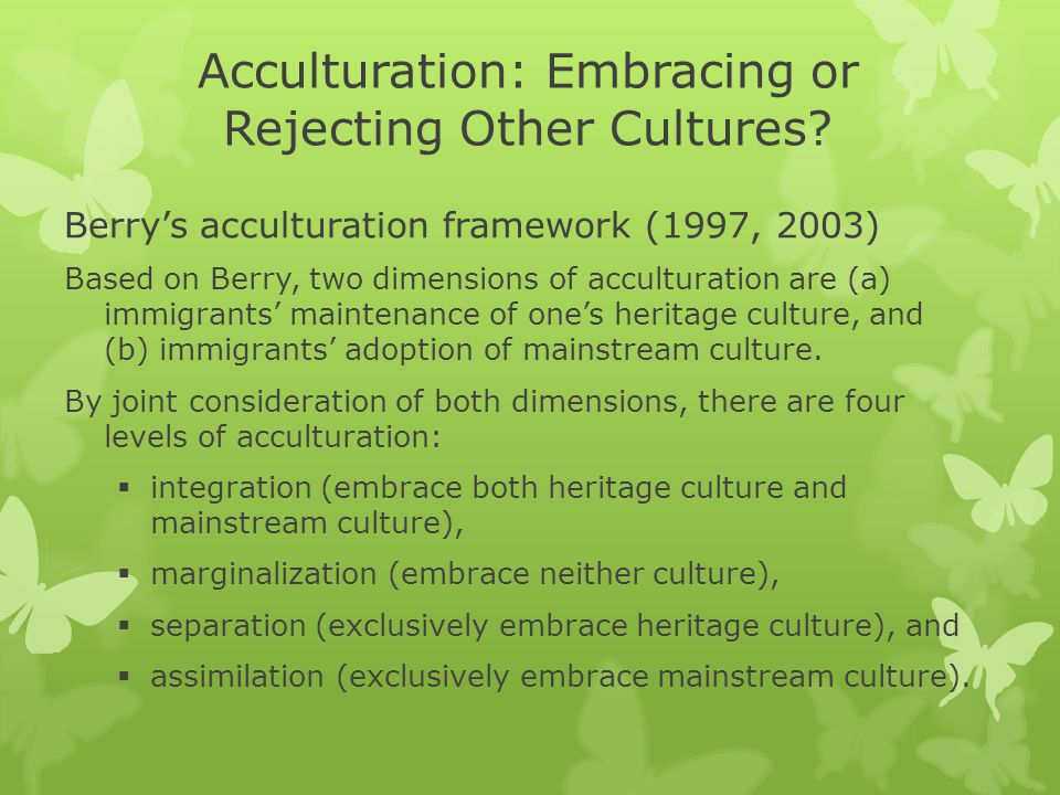 Acculturation: Embracing or Rejecting Other Cultures.
