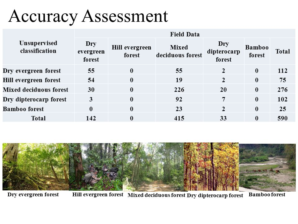 Accuracy Assessment Unsupervised classification Field Data Dry evergreen forest Hill evergreen forest Mixed deciduous forest Dry dipterocarp forest Bamboo forest Total Dry evergreen forest550 20112 Hill evergreen forest540192075 Mixed deciduous forest300226200276 Dry dipterocarp forest309270102 Bamboo forest00232025 Total1420415330590 Dry evergreen forest Hill evergreen forest Mixed deciduous forest Dry dipterocarp forest Bamboo forest