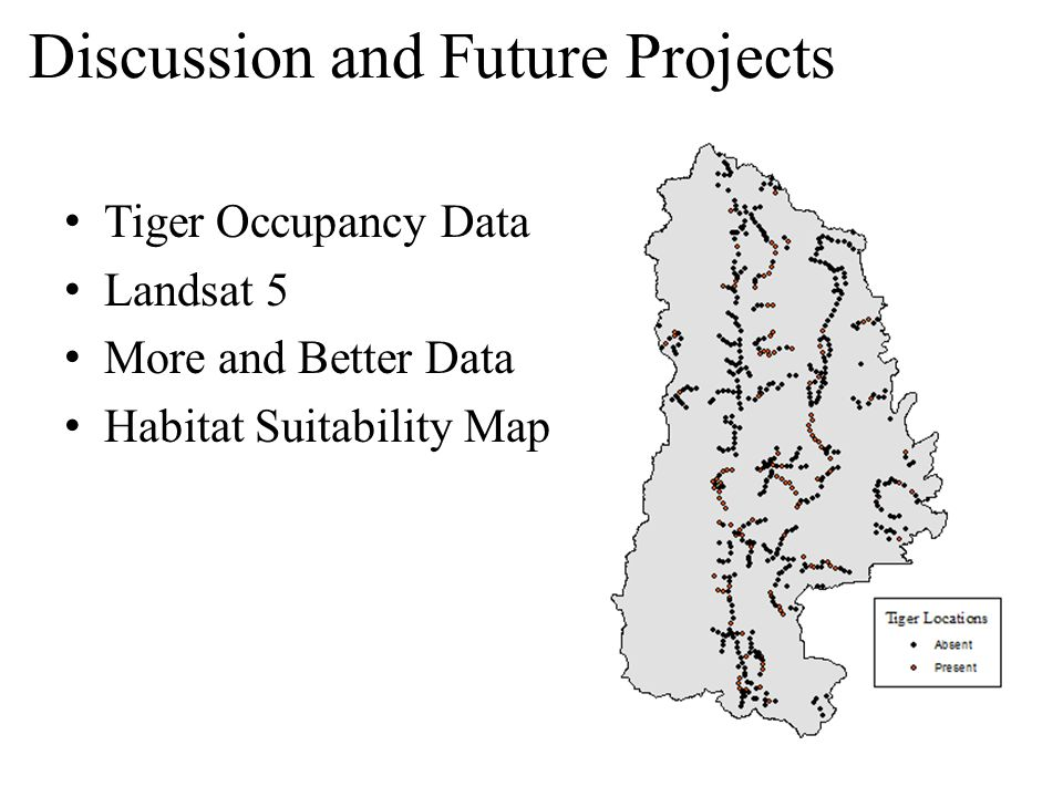 Discussion and Future Projects Tiger Occupancy Data Landsat 5 More and Better Data Habitat Suitability Map