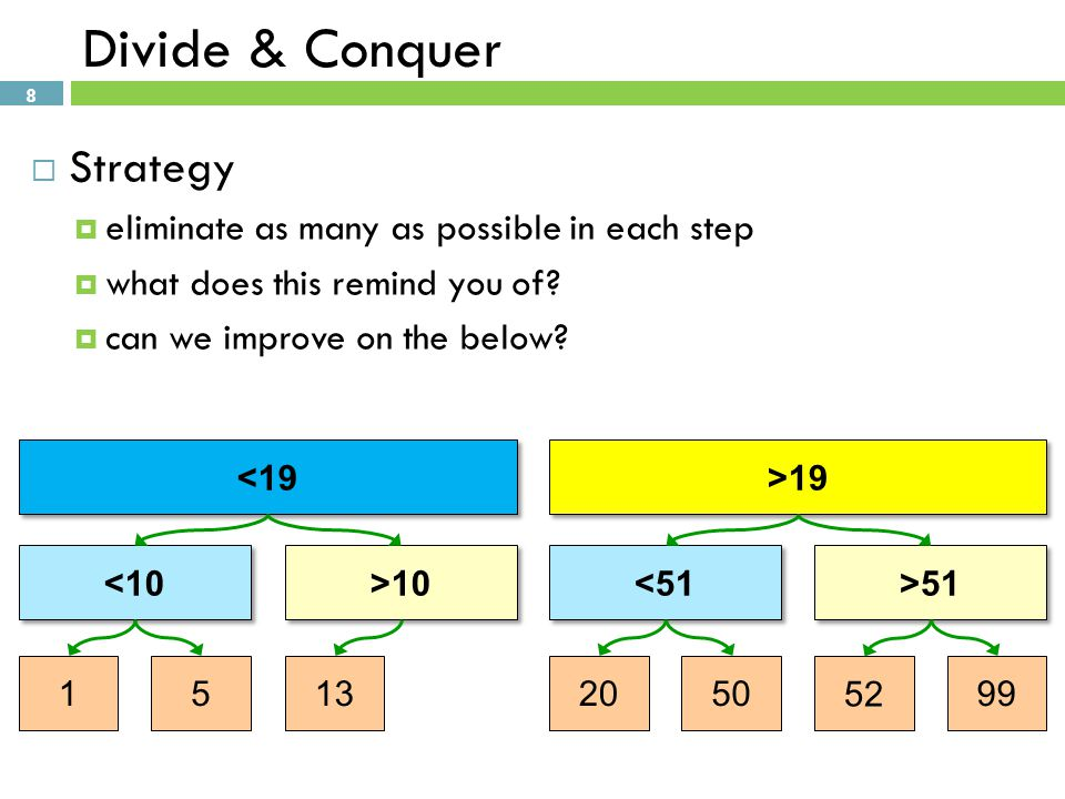 9 Divide & Conquer  Strategy  use existing elements for decision nodes 1 5 1320505299