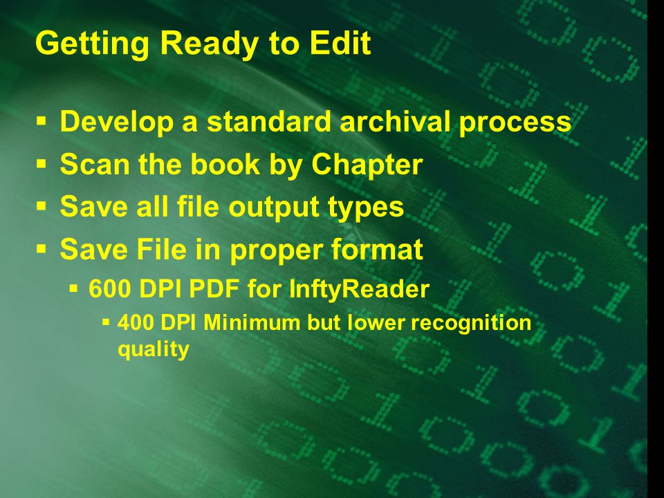 Getting Started  Standardize the font  Standardize the page layout  Pages numbers  Chapter and Section Headings  Comment Before and After  Sidenotes, Footnotes, and Endnotes  Number  Associate appropriately  Figures, Charts and Graphs  Description or Tactile.