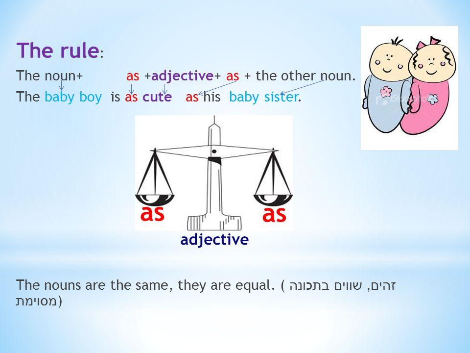 The rule : The noun+ as +adjective+ as + the other noun.