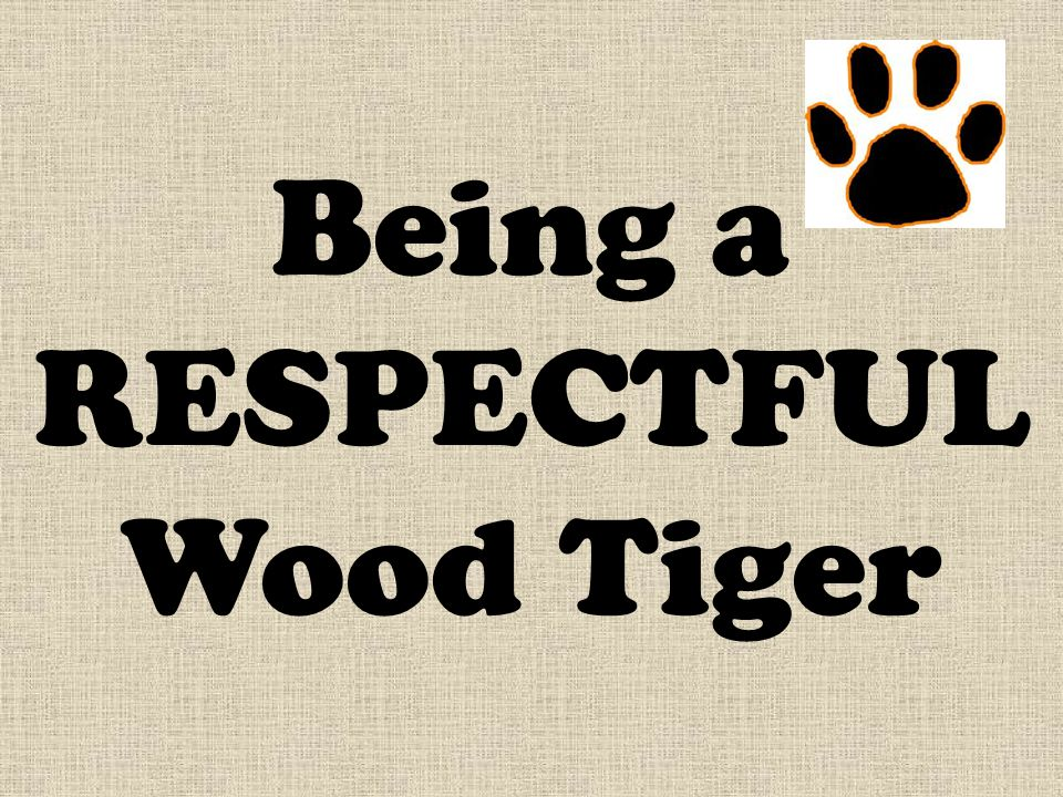 Being a RESPECTFUL Wood Tiger